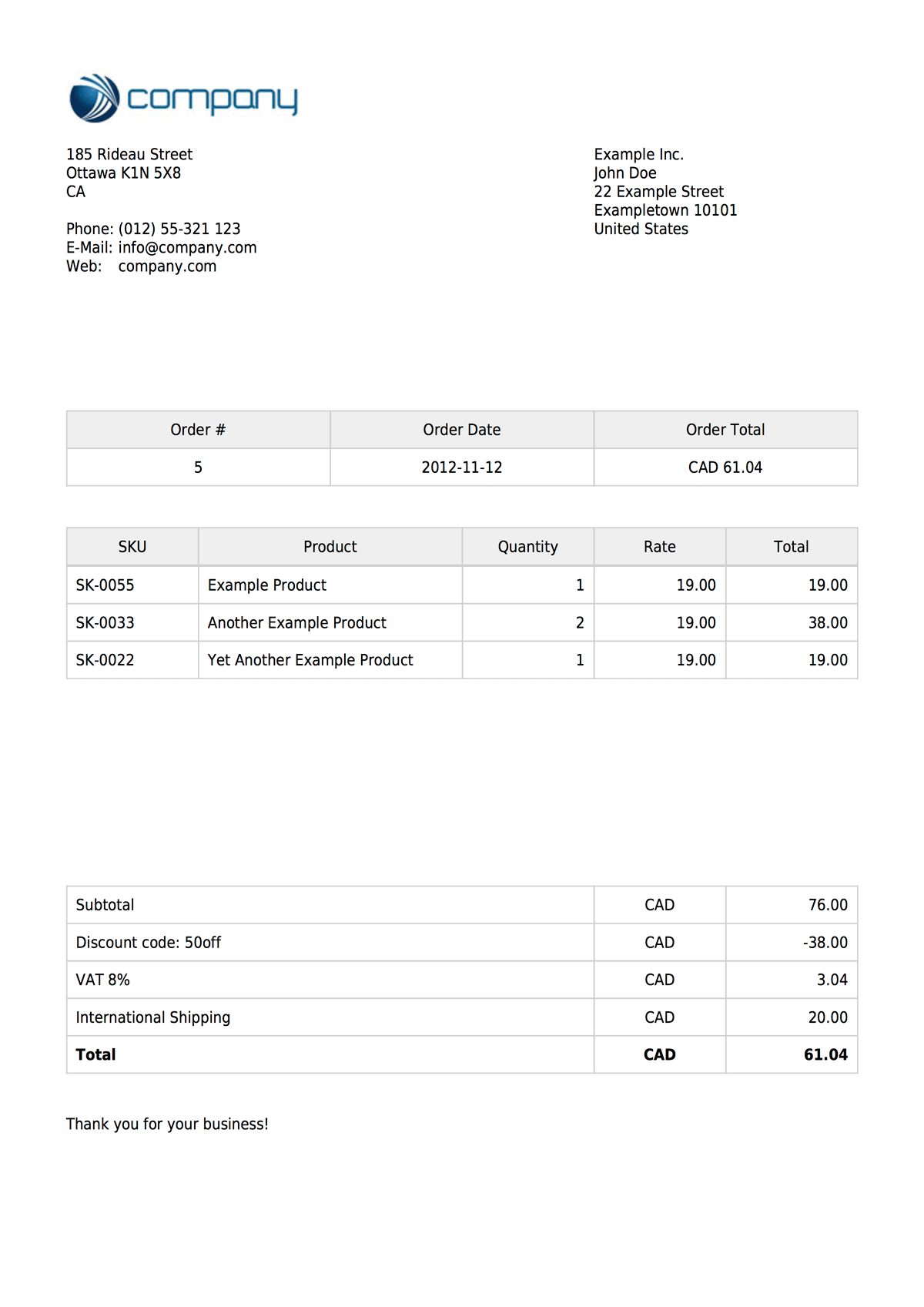 Beautiful Invoices For Your Shopify Store   Automatically! Example Invoices  An Example Of An Invoice